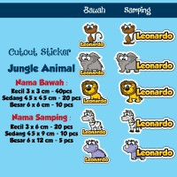 Sticker Nama Cutout Jungle Animal / Binatang Hutan