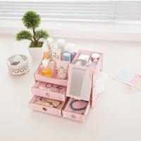Rak kosmetik bahan kayu desktop storage cermin make up kuas - BDP015