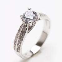 Cincin Wanita Perak Sterling 925 Berlapiskan Emas Putih 061