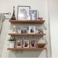 rak dinding floating shelf kayu solid 80x20x3 cm (3pcs)