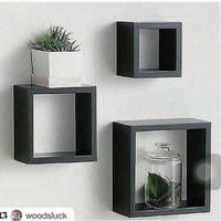 rak dinding floating shelf kayu solid model kotak persegi (3pcs)