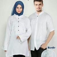 PROMO SALE! couple blouse muslim putih combi bordir (romantic couple A