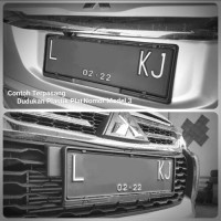 Dudukan Plastik Plat Nomor Mobil HITAM 43 & 46cm Kualitas OEM - Hitam 43cm
