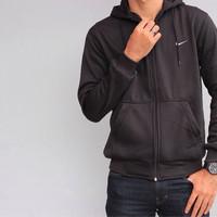 jaket jacket nike sweater hoodie basic classic zipper original - black