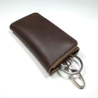 dompet stnk model lipat tiga kulit sapi asli warna coklat tua