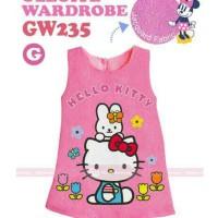 Dress Anak GW 235G Hello Kitty Jacquard Pink