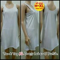 Tank Top XL Dress Leher U Putih - Melar | Dalaman Terusan Baju Tidur