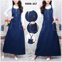 Overall jeans gamis maxi dress werpak with inner jumpsuit hijab jumper