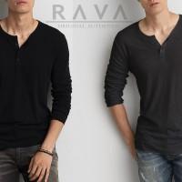 Baju Kaos Pria Henley Lengan Panjang ORIGINAL by RAVA (BEST SELLER)