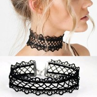 Kalung Cantik Dan Manis Choker A7 Sexy Hollow Out lace Black Necklace