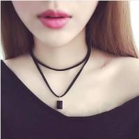 Kalung Cantik & Manis Choker A16 Black Leather Gem Pendant Necklace