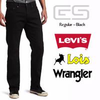 Grosir Celana Jeans Pria Regular Hitam Pekat/Black Levis-Lois-Wrangler