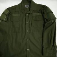 kemeja tactical/helikon/pdl lengan panjang hijau army ripstop katun
