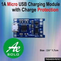1A Micro USB Lithium Charging Module with Charge Protection (TP4056)