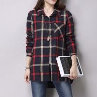 Exclusive kemeja wanita burberry flanel cotton krah pakaian kerja gaya