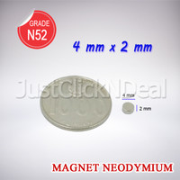 Magnet Neodymium 4 x 2 mm Silinder Coin Koin Disc Bulat N52 Super Kuat