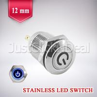 Switch Power Blue LED 12 mm Push On Saklar Biru Tombol Lampu Variasi