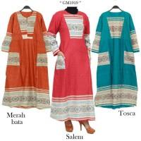 gm1919 gamis dress homedress katun kombi motif batik songket(busui)