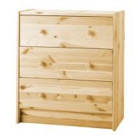 Lemari 3 laci, kayu pinus RAST