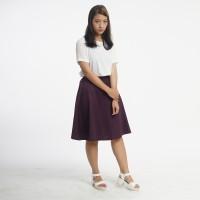 Rok Wanita Casual / Kantor Basic Flared Midi Skirt Ungu
