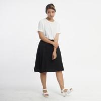 Rok Wanita Kantor / Casual Premium Basic Flared Midi Hitam