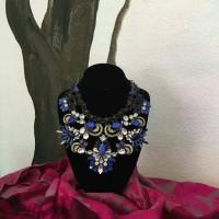 Charmjewelry Kalung Premium Statement Choker Zara Shourouk Blue N017