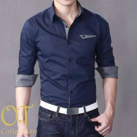 aries navy VL pakaian pria kemeja slim fit warna navy Murah 2708