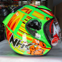 Helm NHK R6 Half Face R 6 Green Orange Lotus Seri