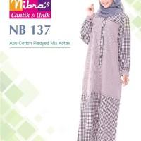 Gamis Nibras NB 137 Katun Pisdyed Abu Mix Kotak Busui