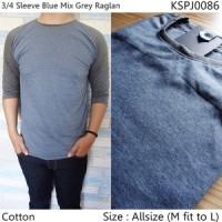 Lengan 3/4 Sleeve Blue Mix Grey Raglan Pria Keren  Sweater Rajut 0502