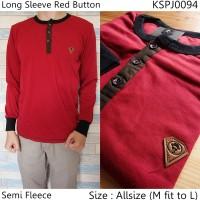 Kaos Lengan Panjang Long Sleeve Red Button   Sweater Rajut Pria 0502