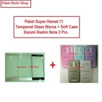 [PAKET] Softcase + Tempered Glass Warna Xiaomi Redmi Note 3 Pro