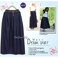 Denim Maxi Skirt, rok panjang semata kaki bahan denim soft jeans
