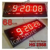 Jam Dinding Digital LED Jumbo HG 2368 Merah