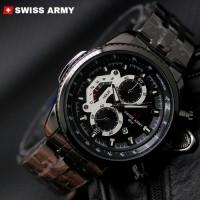 Swiss army tali rantai full black hitam tanggal aktif jam tangan pria