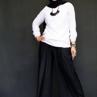 rok denim zetha kulot hitam all size(XL-5XL)