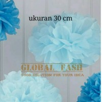 Pompom paper biru soft / pompom kertas / paper ball / pompom flower