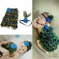 Kostum rajut foto bayi merak / Baby knit photo costume