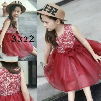 red valentina lace kids dress