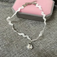 Kalung Cantik & Manis Choker A67 Leather Lace Pendant Necklace Crystal - Putih