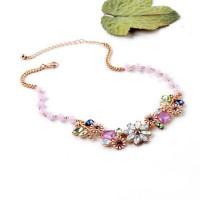 Kalung Korea Kristal Vintage Crystal Statement Flower Necklace