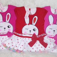 Dress bayi / baju bayi / dress kelinci alpokadot tutu