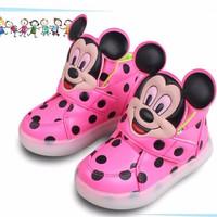 Sepatu Led Mickey Polkadot Pink S170