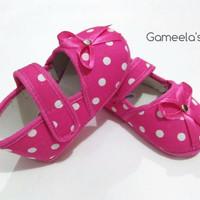 Sepatu Bayi Perempuan - Motif Polkadot Model Pita - Warna Pink Putih -
