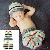 Kostum rajut foto bayi setelan #striped