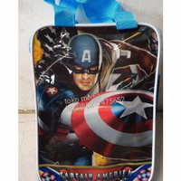 Tas Tenteng Goodie Bag Retsleting Souvenir Ulang Tahun CAPTAIN AMERICA