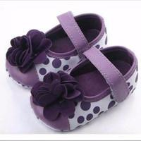 Sepatu Prewalker Bayi Perempuan Import Ungu Polkadot Bunga Elegan Spes