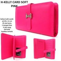 dompet wanita kulit hrmes kelly kartu 25 card pink Murah