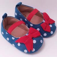Sepatu Prewalker PW Anak Bayi Perempuan Biru Tosca Polkadot Pita Mer
