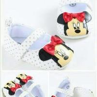 Sepatu Prewalker Bayi Perempuan Import Minnie Putih Polkadot Klasik Te